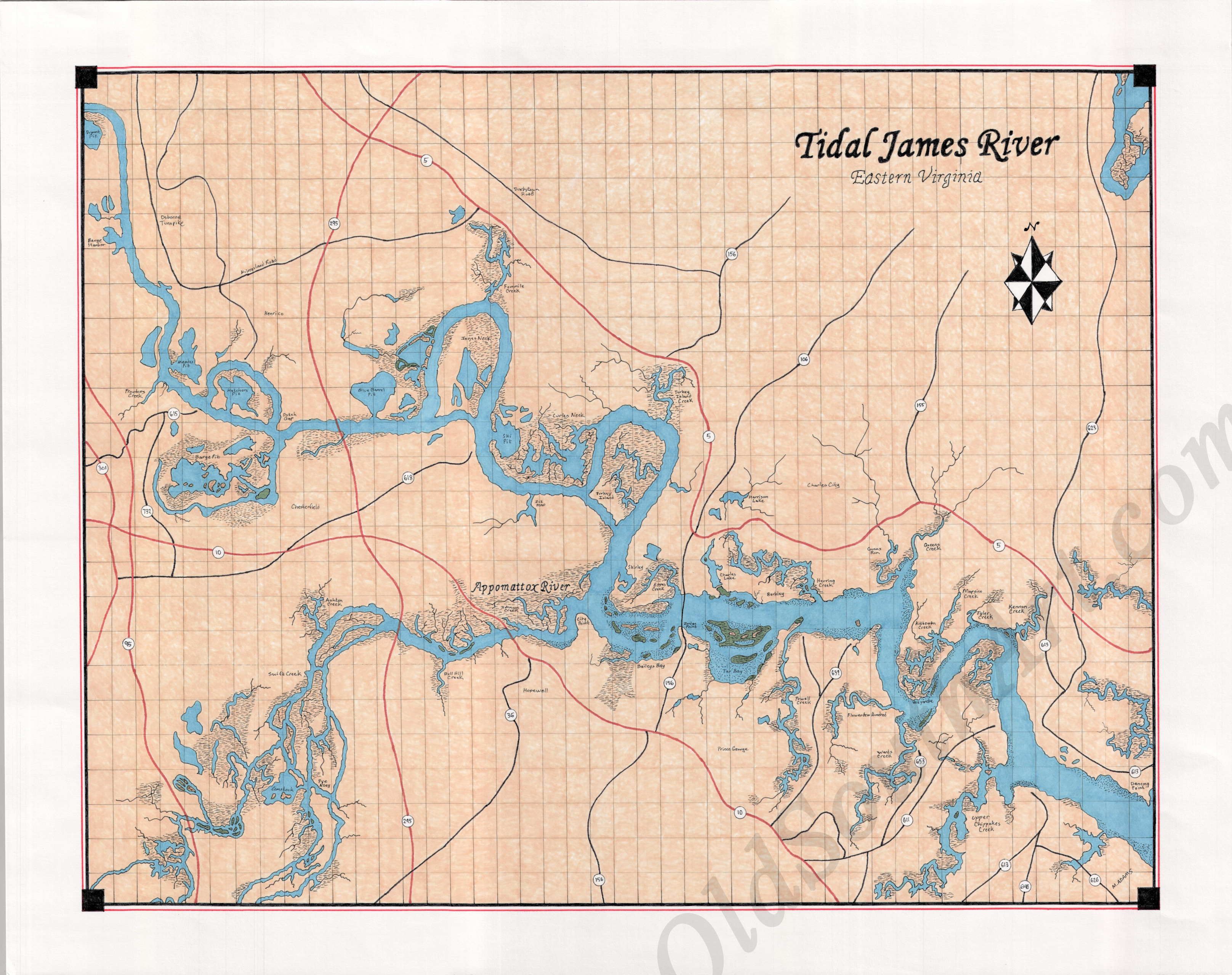 James River Map James River Map